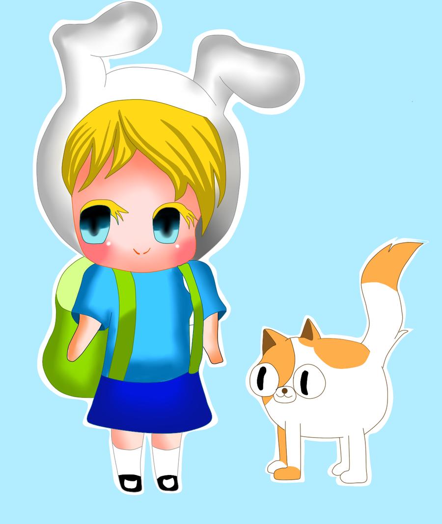 fionna and cake chibi by yumethenekomata