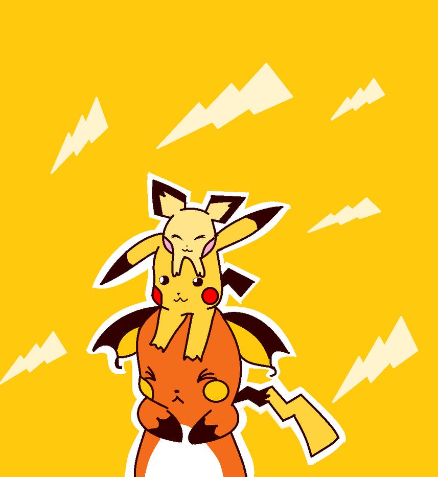 pichu,pikachu and raichu on each other ms paint by yumethenekomata