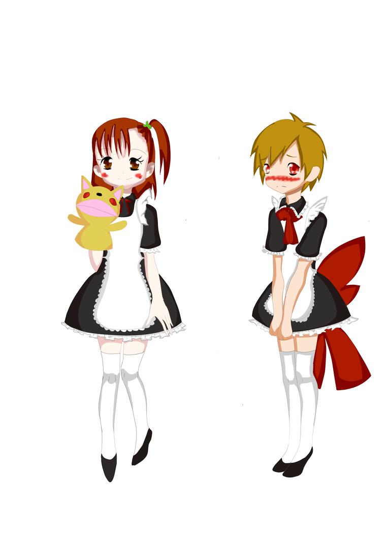 Takato and juri as maids by yumethenekomata