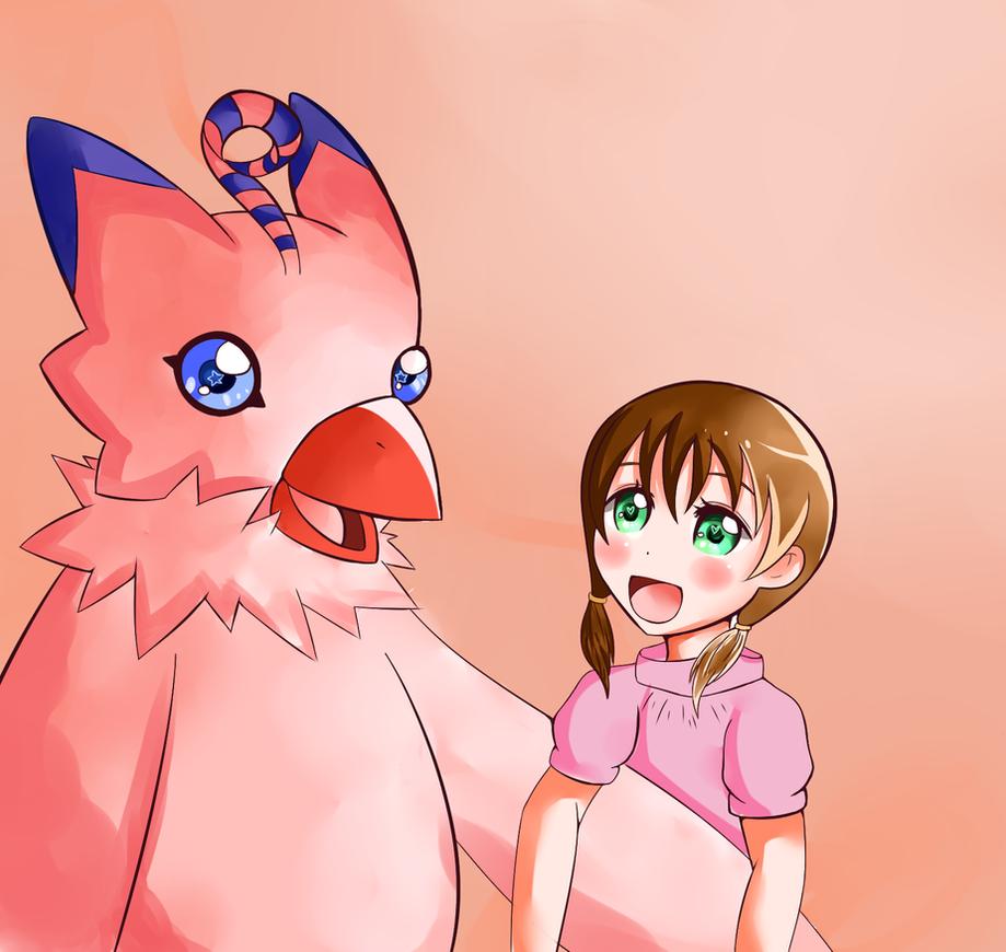 chika and piyomon by yumethenekomata
