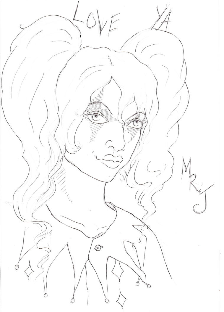 Line Art Harley Quinn : Harley quinn line art by alice time on deviantart