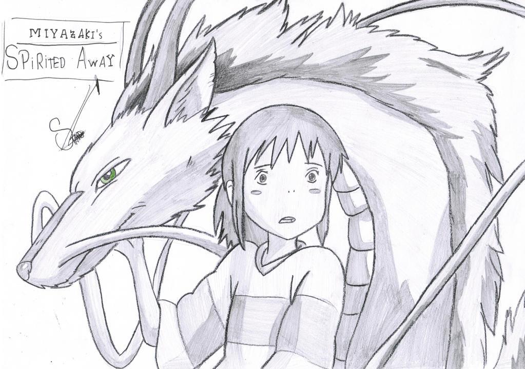 chihiro and haku spirited away by stadesdrawing on