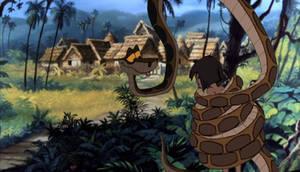 Kaa delivery Mowgli to the man village