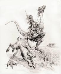 Dinosaur Rider by megamoth
