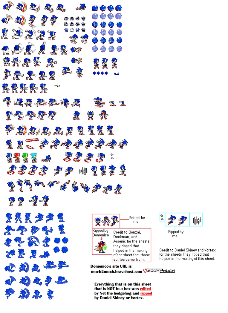 Sonic Sprites (Extras) by SonicDBZFan4125