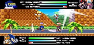 .:Sprite Art #1:. ~ Sonic+Tails Vs. Shadow+Rouge by SonicDBZFan4125