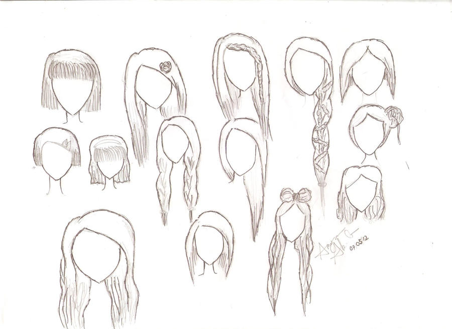 how to draw cute hairstyles easy