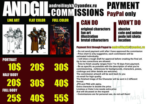 Updated price for commission.
