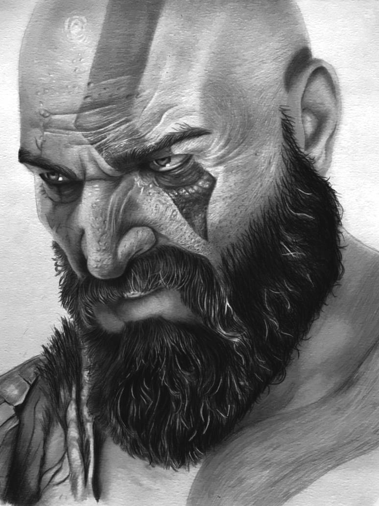 Pencil art of kratos from the game god of war by abhisheksamal007