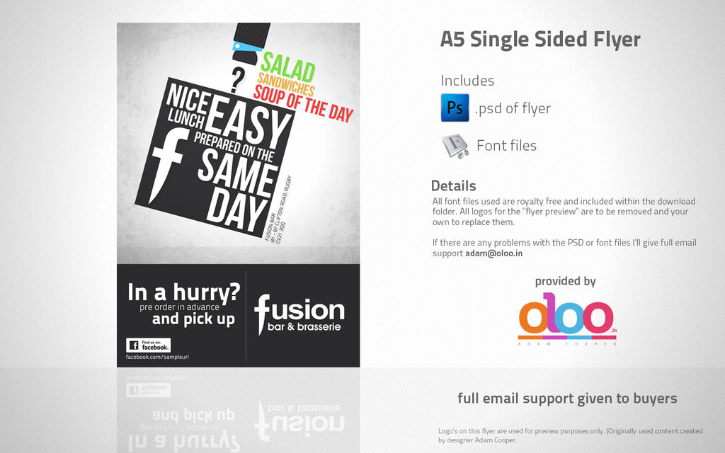 Business Lunch A5 Flyer Design PSD Template By
