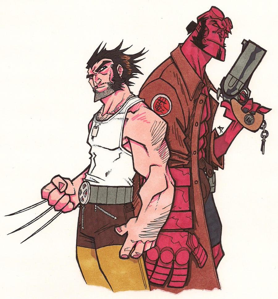 DarkLP's Logan and Hellboy by Grigori77