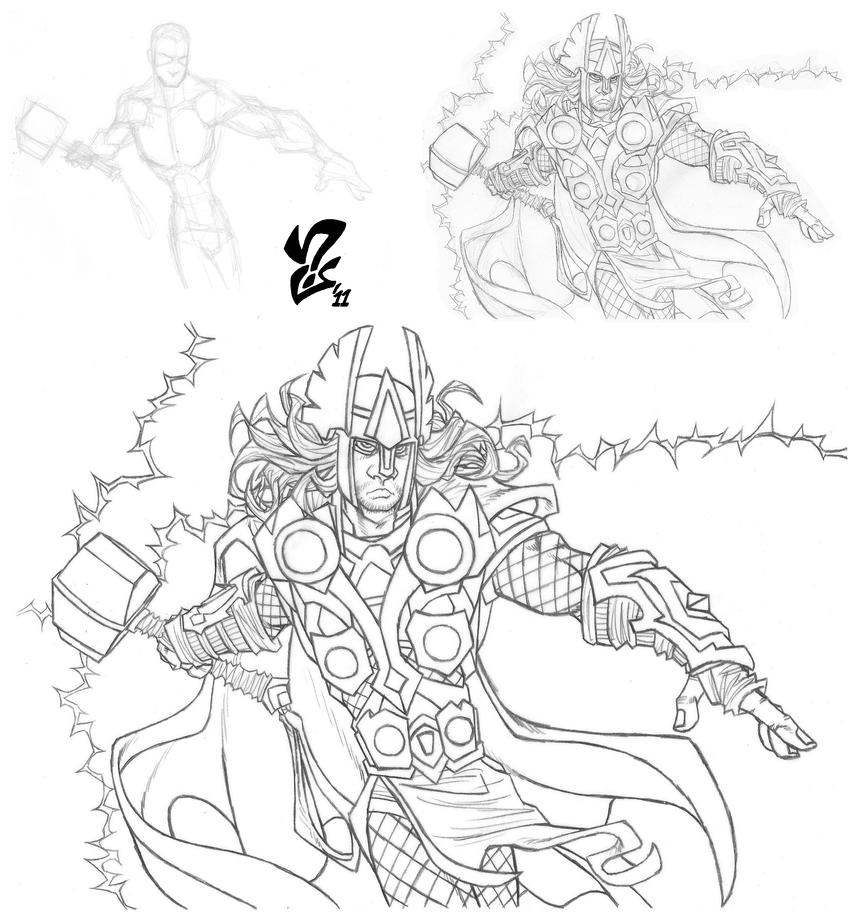 Mighty Avengers Coloring Pages : Avengers thor pencils by grigori on deviantart
