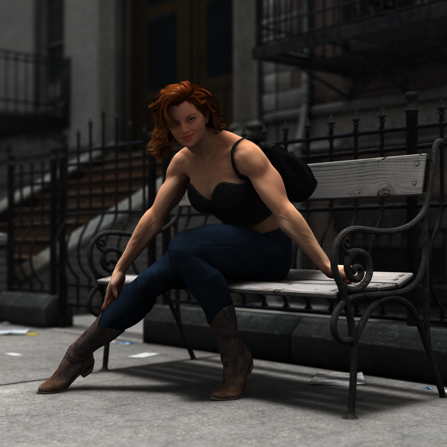 Fit Chick Waiting For The Bus by Lingster