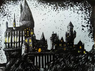Hogwarts castle by Nautileen