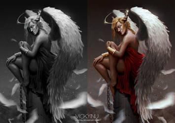 Angel (grayscale) by VickyInu