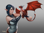 Kaite and her Pseudodragon