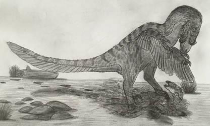 Turpanoraptor meridionalis and Prey