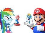 EQG's Minis and Amiibo Mario and Rainbow Dash