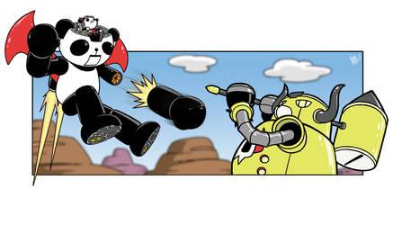 Panda Z versus Moujumbo by retrorobotboy