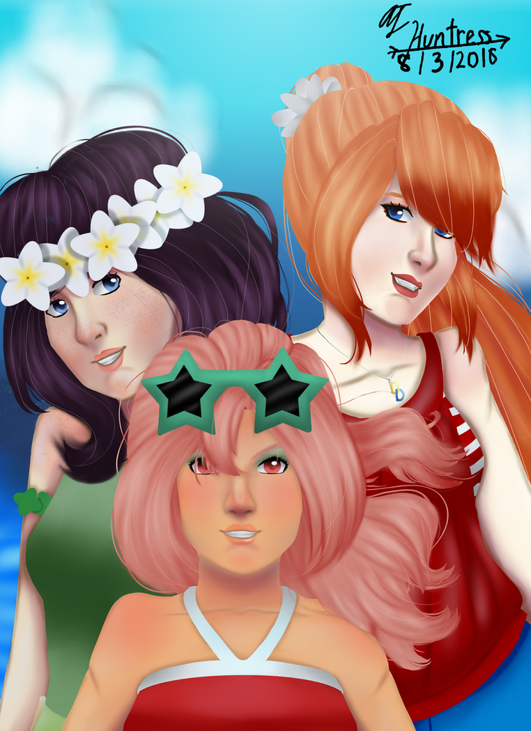 Beach Day!-Ruby, Daina, and Avanna by AJtheHuntress