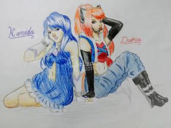 Color Pencil- Cuties (Daina and Namida) by AJtheHuntress