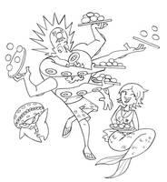 Sketch Trade: Takoyaki Balls by JaviDLuffy
