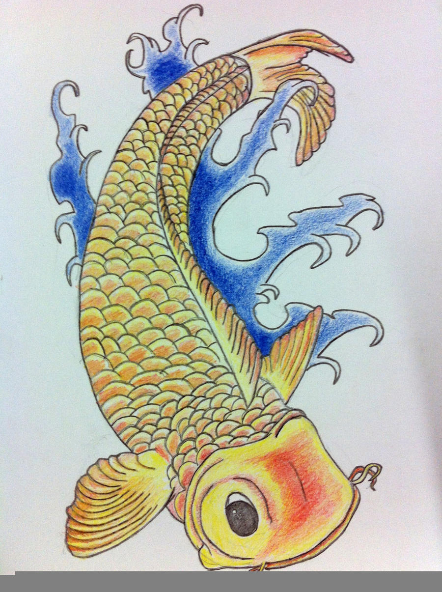 Coloured Pencil Koi Fish by nkemball on DeviantArt