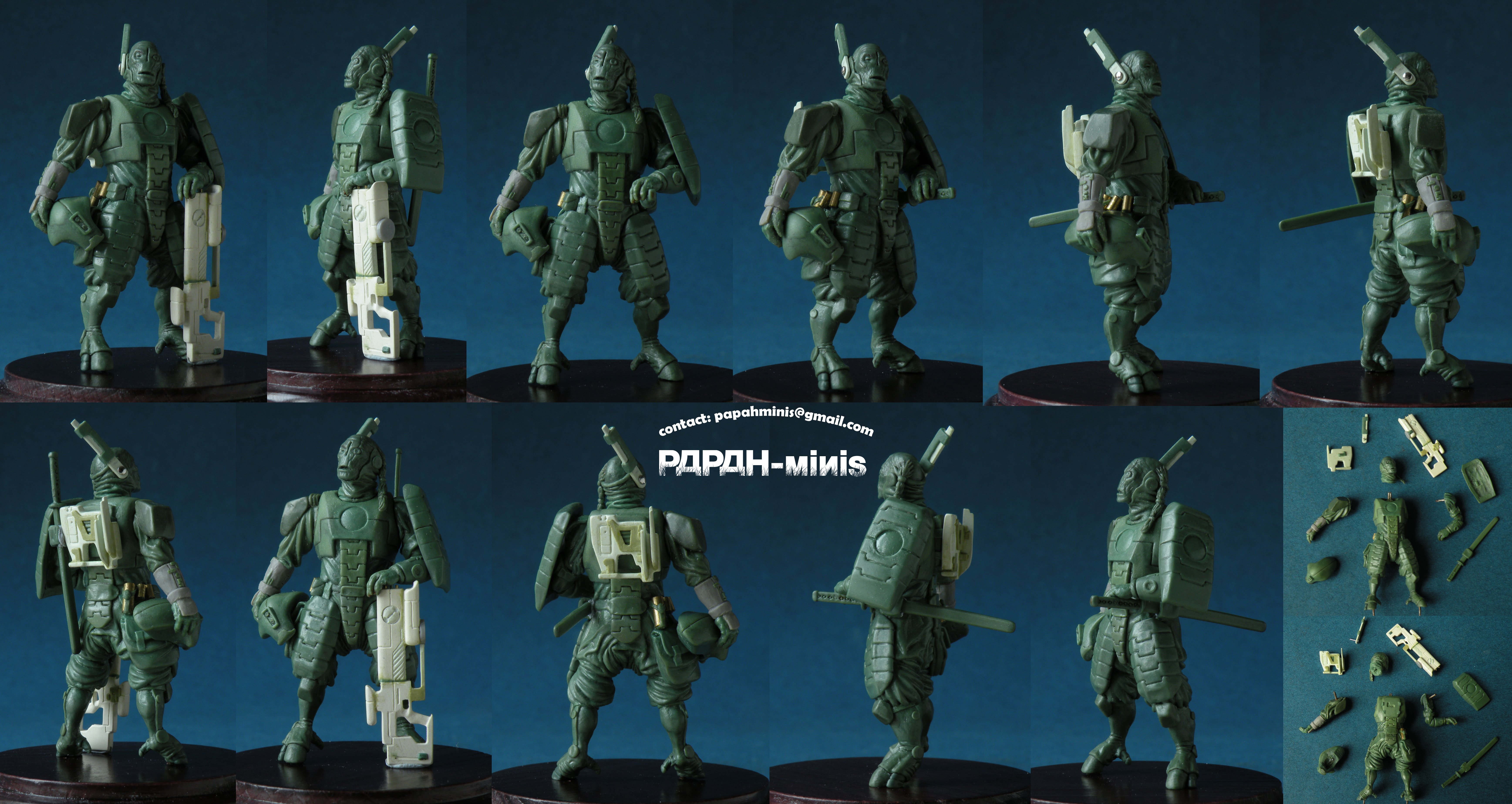 Alien Commander with sword or carbine, 56mm by Papah-minis