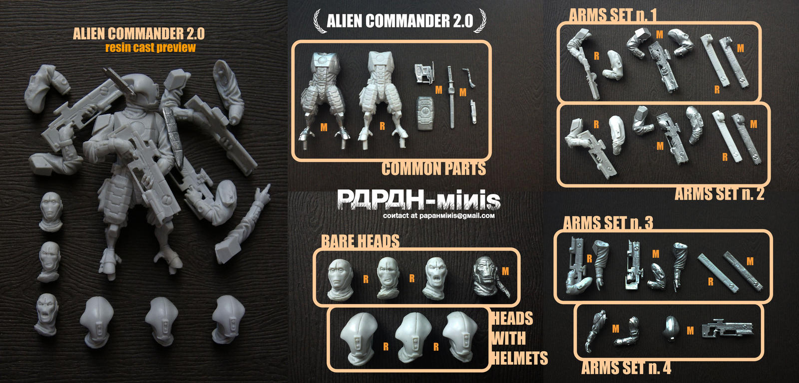 Alien Commander 2.0 metal and resin casts, 56mm by Papah-minis