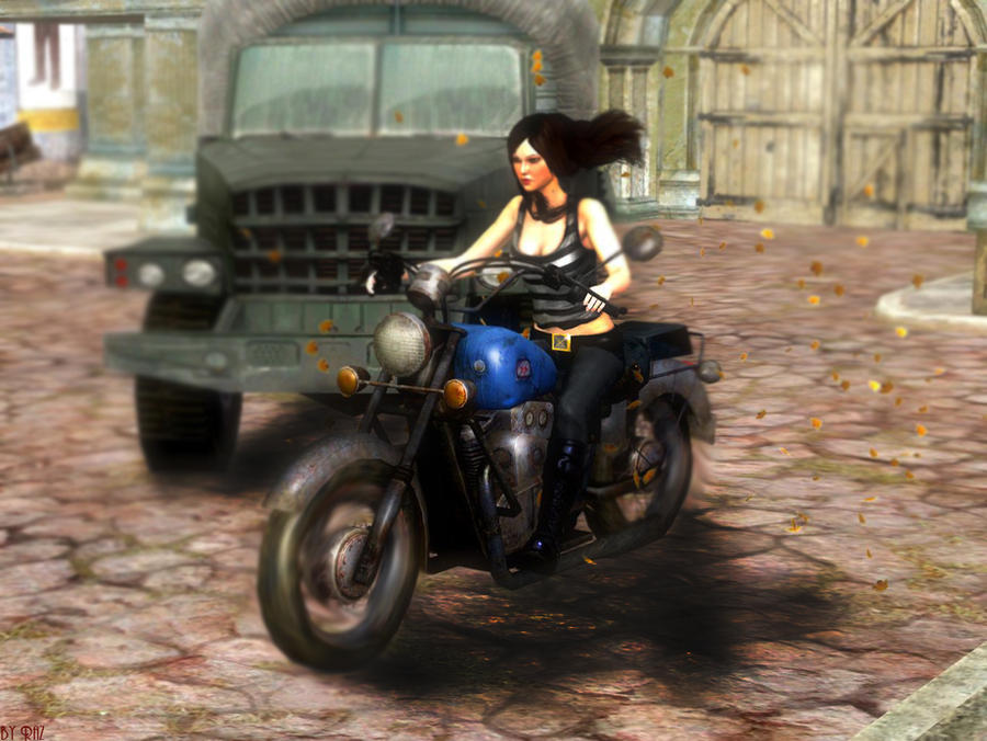 Laura on Logan's bike by RazKurdt