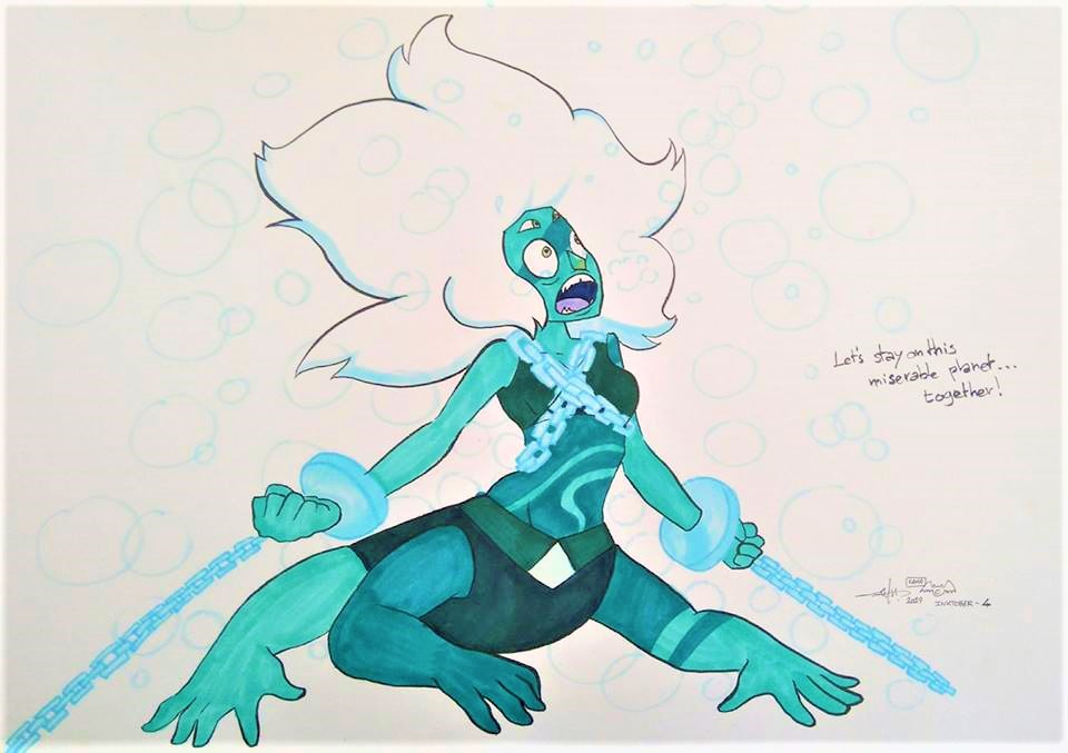 "Malachite under the ocean for this ""Underwater"" fourth inktober"