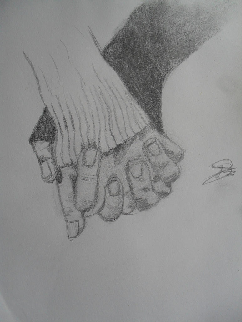 Holding hands by BlackDrawing on DeviantArt