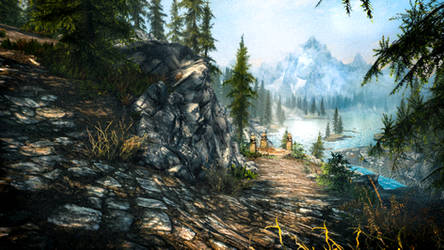 A Cliff Under a Tree - Skyrim by WatchTheSkiies