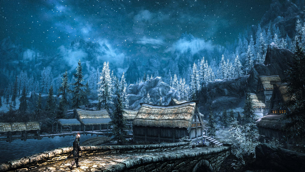Звёздное небо и космос в картинках - Страница 31 Morthal___skyrim_by_watchtheskies45-dcpg214