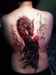 Love dragon back tattoo