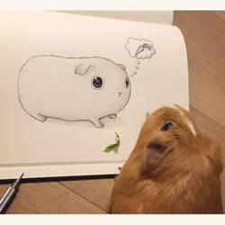 Cute guinea pig sketch by VinceOkerman