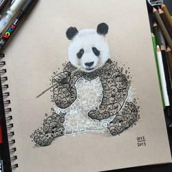 Panda Doodle Art  by VinceOkerman
