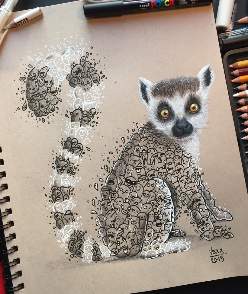 Lemur Doodle Art by VinceOkerman