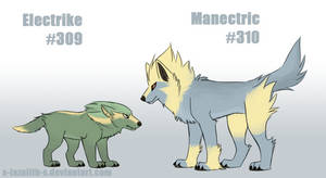 Realistic Electrike and Manectric by x-lazulith-x