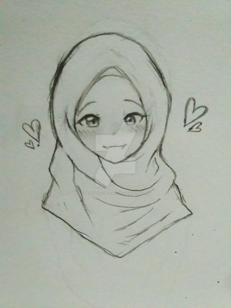 Sketch anime muslimah by blueberrybear45