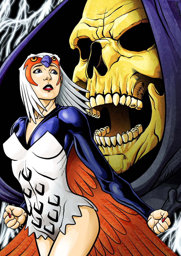 Skeletor and Sorceress by dwaynebiddixart