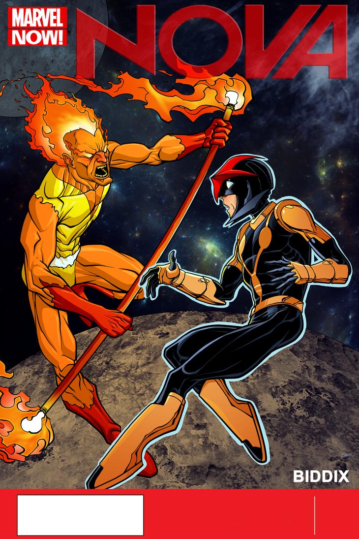 Nova And Firelord by dwaynebiddixart