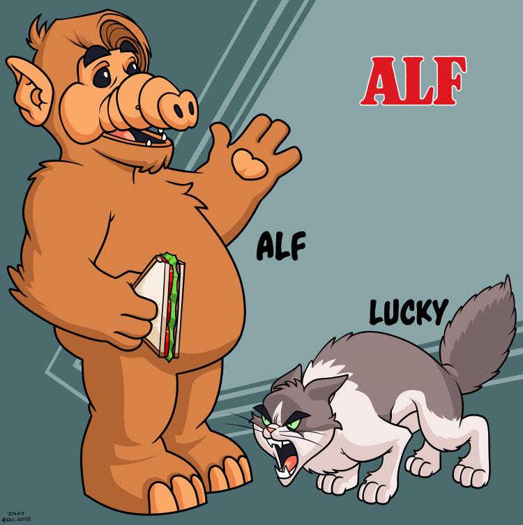 Alf and Lucky by dwaynebiddixart