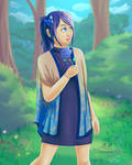 Blue Flower Butterfly Girl