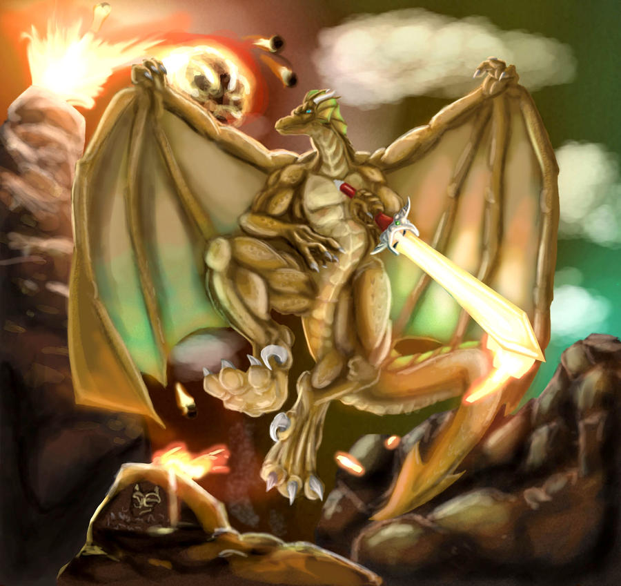 Dragoniade the gold dragon by kaze-fox