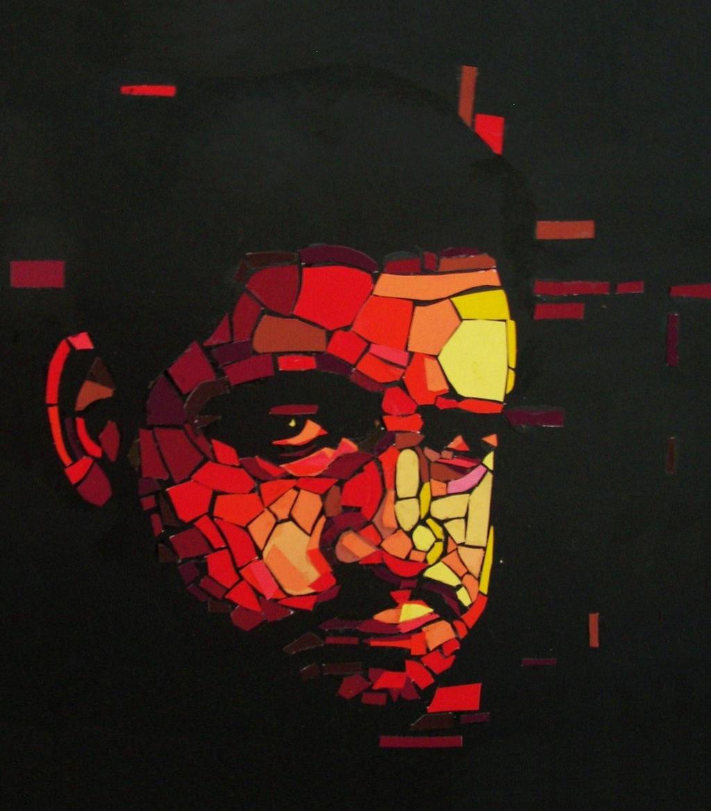 paper mosaic self portrait by onlygoodart