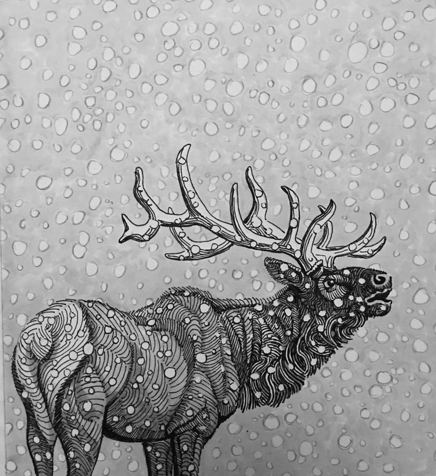 elk in flurry by onlygoodart
