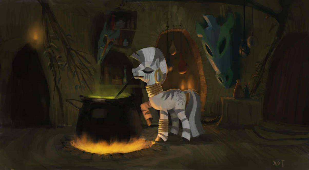 Zecora mixing an evil brew by Arcturian627