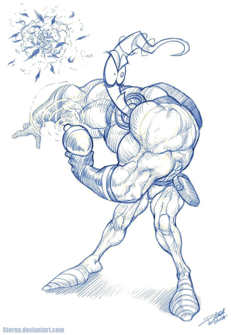 Earthworm jim sketch by sterna