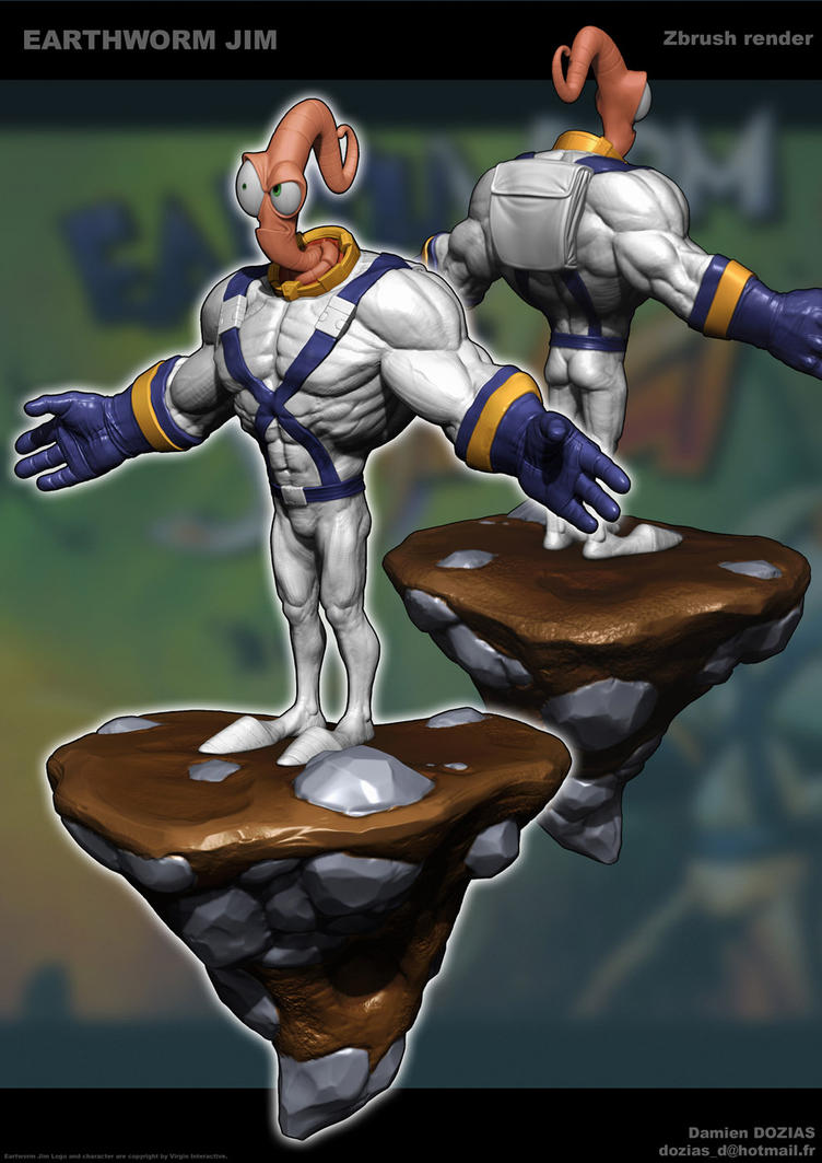 Earthworm Jim Zbrush by sterna